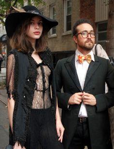 Fashion Week Street Style: Charlotte Kemp Muhl and Sean Lennon outside the three ASFOUR show.