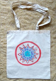 Blue flower hand painted mandala tote bag by WearBeauty on Etsy