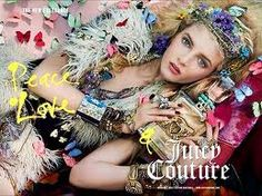 Peace, Love & Juicy Couture Fragrance, adv by Steven Meisel, model Daria Strokous hippy Look Hippie Chic, Hippy Chic, Boho Chic, Hippy Girl, Juicy Couture, Kate Spade, Steven Meisel, New Fragrances, Top Perfumes