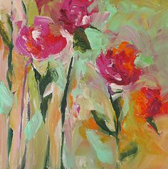 Original Floral Painting Abstract Art Fauve by lindamonfort