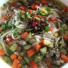 Spicy pork sausage and vegetable soup, does a body good!