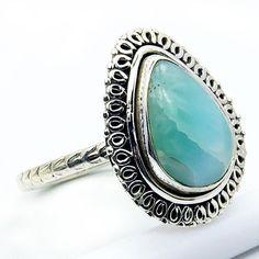 'Stone of Atlantis' Sterling Silver Larimar Ring, Size 7.75