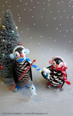 New diy christmas snowflakes pine cones 55 Ideas Diy Christmas Snowflakes, Pine Cone Christmas Tree, Kids Christmas, Christmas Ornaments, Christmas Christmas, Penguin Ornaments, Pinecone Ornaments, Pine Cone Crafts, Christmas Crafts
