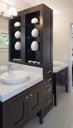 Custom Vanity With Linen Tower And Pull Out Trash Can Etc Bathroom Remodels Pinterest