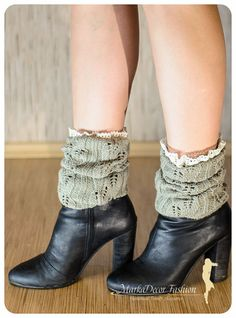 Women Knitted Lace Boot Cuffs Boot Toppers by MarkaDecorFashion