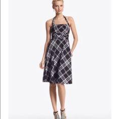 Whbm Black Plaid Picnic Dress. Fit And Flare