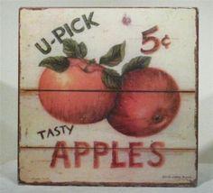 RARE VINTAGE ADS SIGN RED APPLE FRUIT WALL PLAQUE ART - $150.00 : Anticobello, Antiques & Colletibles