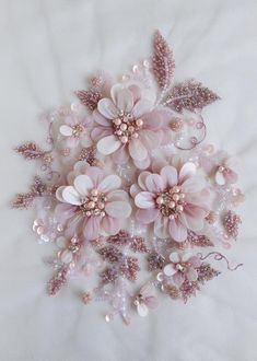 Silk Ribbon Embroidery Flowers Hand-made motif with pearls twinkling balls of glass beads Tambour Embroidery, Couture Embroidery, Embroidery Fashion, Silk Ribbon Embroidery, Hand Embroidery Designs, Embroidery Stitches, Embroidery Patterns, Embroidery With Beads, Hat Embroidery