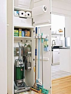 Reorganize Your Utility Closet is part of Cleaning Closet Organization - Transform your utility closet into a lean, mean, home maintenance machine Plus superstar sprays, scrubbers, mops and Laundry Room Storage, Laundry Room Design, Closet Storage, Kitchen Storage, Kitchen Design, Laundry Rooms, Coat Closet Organization, Kitchen Decor, Small Laundry