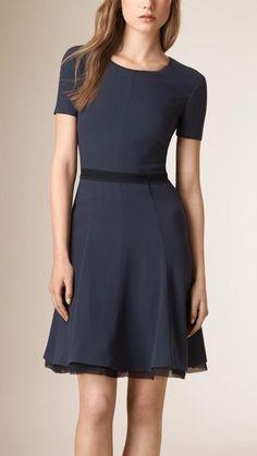 977324c222b Burberry Flare Skirt Silk Detail Dress - ShopStyle Day