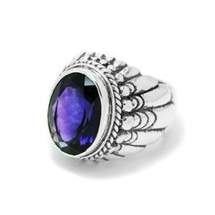 Large Navajo Ring With Faceted Amethyst