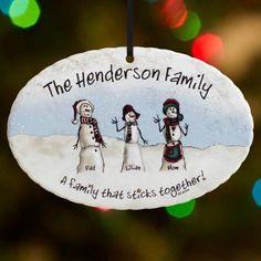 Personalized Snowmen Stick Family Christmas Ornament, White