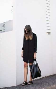 Minimal + Classic: black dress with Celine tote and Birks Chic Minimalista, Minimal Fashion, Mode Inspiration, Wearing Black, Her Style, Spring Summer Fashion, Personal Style, Womens Fashion, Fashion Trends