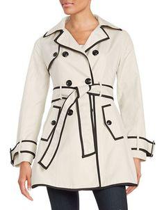 """<ul> <li>A lightweight, double-breasted trench with a self-tie belt</li> <li>Notched collar</li> <li>Double-breasted closure</li> <li>Gun flaps</li> <li>Long sleeves</li> <li>Self-tie waist</li> <li>About 32.5"""" from shoulder to hem</li> <li>Cotton/polyester</li> <li>Machine wash</li> <li>Imported</li> </ul>"""