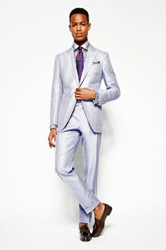 Tom Ford Spring 2014 Men's Collection - ice blue suit with purple accents
