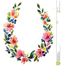 Hand painted watercolor wreath. Flower decoration.Awesome!