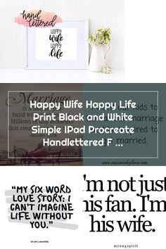 Happy Wife Happy Life Print Black and White Simple IPad Procreate Handlettered Funny Printable Wall Happy Wife Quotes, Six Words, Just Love, Happy Life, Love Story, Ipad, Printable, Black And White, Simple