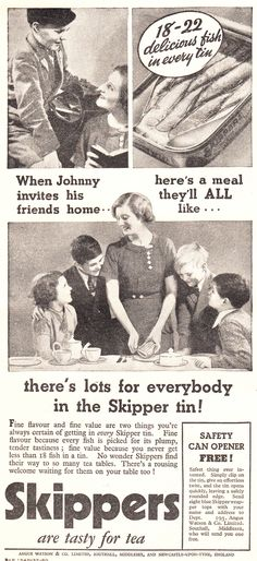 ad from the shows how to be popular with all the neighborhood kids: serve them sardines!This ad from the shows how to be popular with all the neighborhood kids: serve them sardines! Funny Vintage Ads, Funny Ads, Vintage Humor, Vintage Advertisements, Retro Vintage, Vintage Food, Commercial Ads, Retro Ads, Mystery Novels