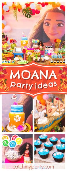 Sail across the ocean with  this stunning Moana birthday party! The backdrop and ballloon garland are gorgeous!! See more party ideas and share yours at CatchMyParty.com #partyideas #moana #maui #girlbirthday