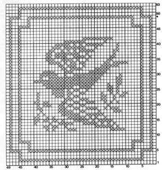 Crochê Tricô - Gráficos: Crochê Filet - Gráfico: Centrinho Cisne (Quadrado)