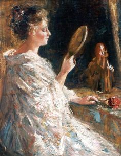 Woman with mirror - Simon Willem Maris (Den Haag 1873-1935 Amsterdam)