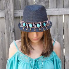 """Make a bohemian-inspired """"belt"""" for your fedora, perfect for music festival fashion!"""