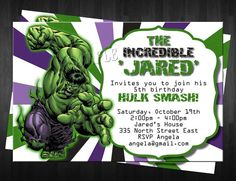 THE HULK Birthday Invitation Custom Digital File DIY PhThe Incredible Hulk…