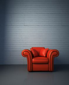 Poster of Red leather armchair, Architecture Posters,