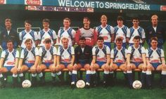 1987/88 - (Back) D.Philpotts (Coach); C.Thompson; M.Hilditch; B.Campbell; N.Adkins; A.Holden; P.Beesley; P.Cook; R.Tunks (GK/Asst Manager); (Front) A.Ainscow; J.Butler; P.Jewell; D.Hamilton; R.Mathias (Manager); A.Cribley; I.Griffiths; S.Storer; B.Knowles. Wigan Athletic, Football, Magazine, Club, Butler, Hamilton, Sports, Times, Twitter
