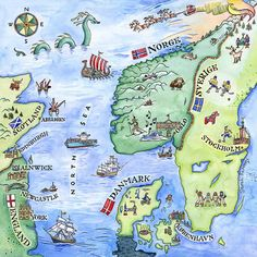 Sarah Farooqi - Scandinavia, illustrated map showing Britain, Norway, Denmark and Sweden
