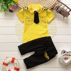 11c19d1c588d6 17 Boys Summer Wear And Tie Fake Pocket Pure Cotton Short Sleeve Two-piece  Set