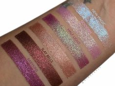 ColourPop Cosmetics @colourpopcosmetics Dusk Til Dawn collection (New Magic, Goodish, half Light, Stargirl, Slay Bells, Babykins) swatches - Unbelievable duochrome and glitter finishes make up this fun and festive 6 piece Super Shock Shadow kit. Take your look from sparkly daytime glam to holiday party-ready in no time. ☞ https://colourpop.com/products/dusk-till-dawn #makeup #eyeshadow I always love iridescent hues.