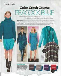 Peacock blue color crash course- from InStyle Colour Combinations Fashion, Color Combinations For Clothes, Fashion Colours, Color Combos, Color Schemes, Style Casual, My Style, Winter Colors, Summer Colours