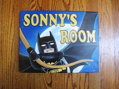 Personalized Lego Batman 11 x 14 Canvas Room Sign by HawkesHollow on Etsy