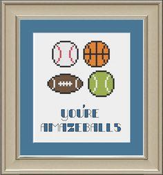Youre amazeballs funny crossstitch pattern by nerdylittlestitcher, $3.00
