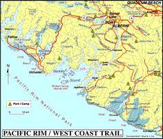 Map of Pacific Rim, West Coast Trail & Barkley Sound BC, Vancouver Island, British Columbia