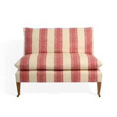 Soane Britain's Fez Stripe fabric in red on The Rampart Sofa Traditional Cushions, Ferrat, Country Furniture, Furniture Styles, Cushions On Sofa, Soft Furnishings, Contemporary Furniture, Furniture Making, Decoration