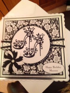 Tattered lace shoes Birthday Cards For Women, Handmade Birthday Cards, 16th Birthday, Happy Birthday, Lace High Heels, Tattered Lace Cards, Crafters Companion, Making Ideas, Cardmaking
