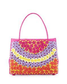 V2RUQ Nancy Gonzalez Wallis Medium Floral Crocodile Tote Bag, Pink/Multi
