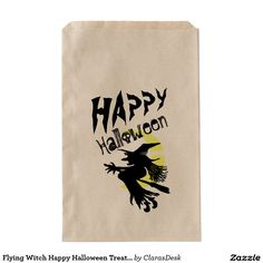 Flying Witch Happy Halloween Treat Bag
