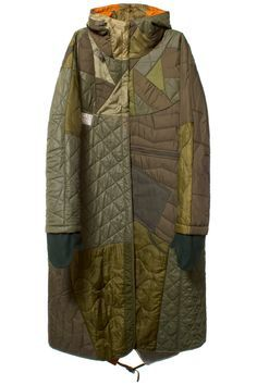 MAHARISHI OLIVE QUILTED TRI BORDER PARKA Olive fishtail long parka featuring patchwork quilting, inside snap closure, non functioning zipper at waist, front zip pocket, and mitten detail. Made with vintage military surplus materials, and upcycled quilted lining. SIZE & FIT Fits true to size. Calf length. MAHARISHI Maharishi is the environmentally sound, fair-trade conscious, oxymoronic Japanese label known for mixing a military aesthetic with graphics associated with peace in long-lasting…