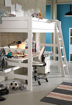Mika high hoogslaper met bureau boysroom pinterest met and bureaus - Stapelbed kleine kamer ...