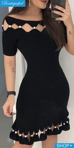 Short Sleeve Hollow Out Detail Bodycon Dress Kurti Designs Party Wear, Kurta Designs, Saree Blouse Designs, Sleeves Designs For Dresses, Dress Neck Designs, Stylish Dresses, Casual Dresses, African Fashion Dresses, Fashion Outfits
