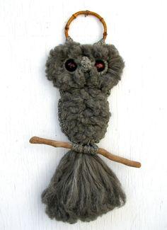 Earthy grey macrame owl & driftwood wall by youdigitthemost, $26.00