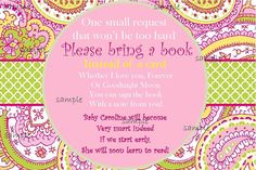 Baby Shower Bring a Book Pink and Green Paisley. $5.00, via Etsy.