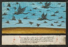 """Augsburg Book of Miraculous Signs. In 1533, in October, flying dragons were seen in Bohemia and the Vogtland, as well as in the small area of Ascher, a crest on their heads, a snout like a pig, and with two wings. This then lasted several days, such that more than four hundred of them flew together each day, both big and small, just as is painted here."""""""