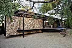 Westcliff Pavilion by GASS: uma casa de campo na Africa do Sul Beautiful Houses Interior, Beautiful Homes, Modern Interior, Steel Frame House, Stone Houses, Modular Homes, Residential Architecture, Interior Architecture, Home Look