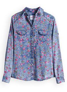 Blue Long Sleeve Floral Print Denim Blouse - Sheinside.com