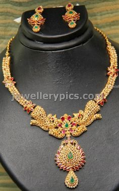 GRT Uncut necklace with double peacock design - Latest Jewellery Designs