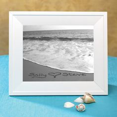 Names in the Sand - Black and White Custom Seaside Photo | #exclusivelyweddings | #beachwedding